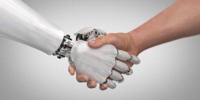 Roboter und Mann Händeschütteln. 3D-Rendering