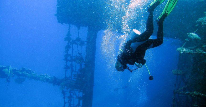 Dr. Kubik erkundet ein Schiffswrack auf einem ihrer Tauchgänge.