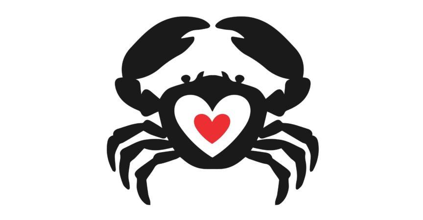 Krabbenherzideenvektorlogotyp. Meeresfrüchte lieben kreatives Symbollogosymbol.