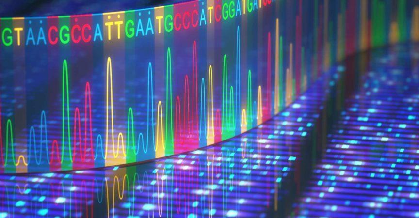 3D-Darstellung einer Methode zur DNA-Sequenzierung.
