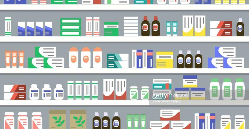 Regale mit Medikamenten. Objekte für ein Apothekeninterieur. Vektorillustration.