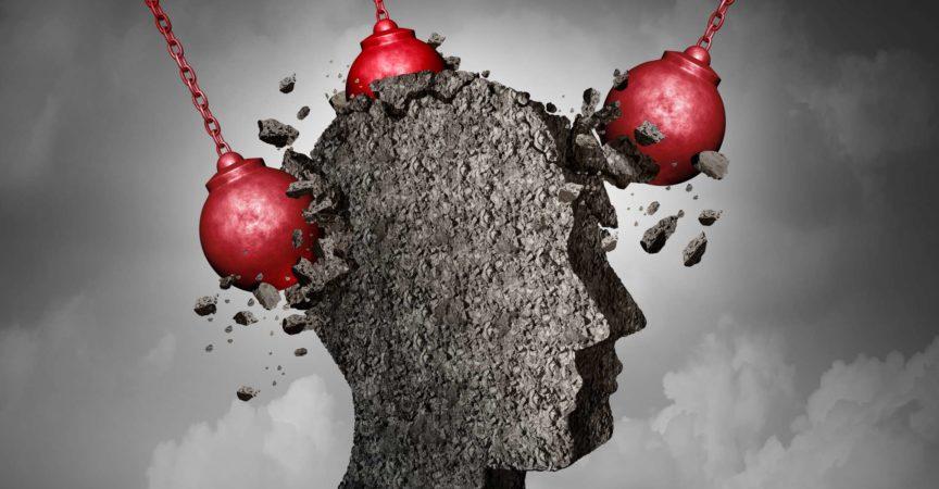 Schmerzhaftes Kopfschmerzkonzept