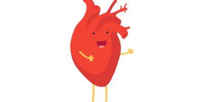 Nettes Karikaturlächeln gesundes Herzcharakter glückliche Emoji Emotion. Lustige Kreislauforgan-Kardiologie. Vektorillustration