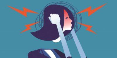 Geschäftsfrau mit Kopfschmerzen. Konzept Geschäftsvektor, Wut, Druck.
