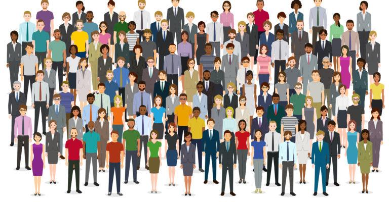 Große Gruppe von Menschen. Erstellt mit Adobe Illustrator.