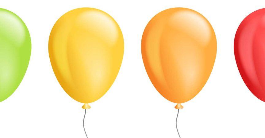 Vektorsatz realistische isolierte bunte Ballons für Schablonen- und Einladungsdekoration auf dem transparenten Hintergrund. Konzept der Geburtstags- und Jubiläumsfeier. Lager Illustration
