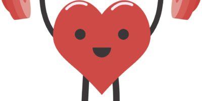 Gesundheitskonzept, starkes Herzgewichtheben über isoliertem Hintergrund
