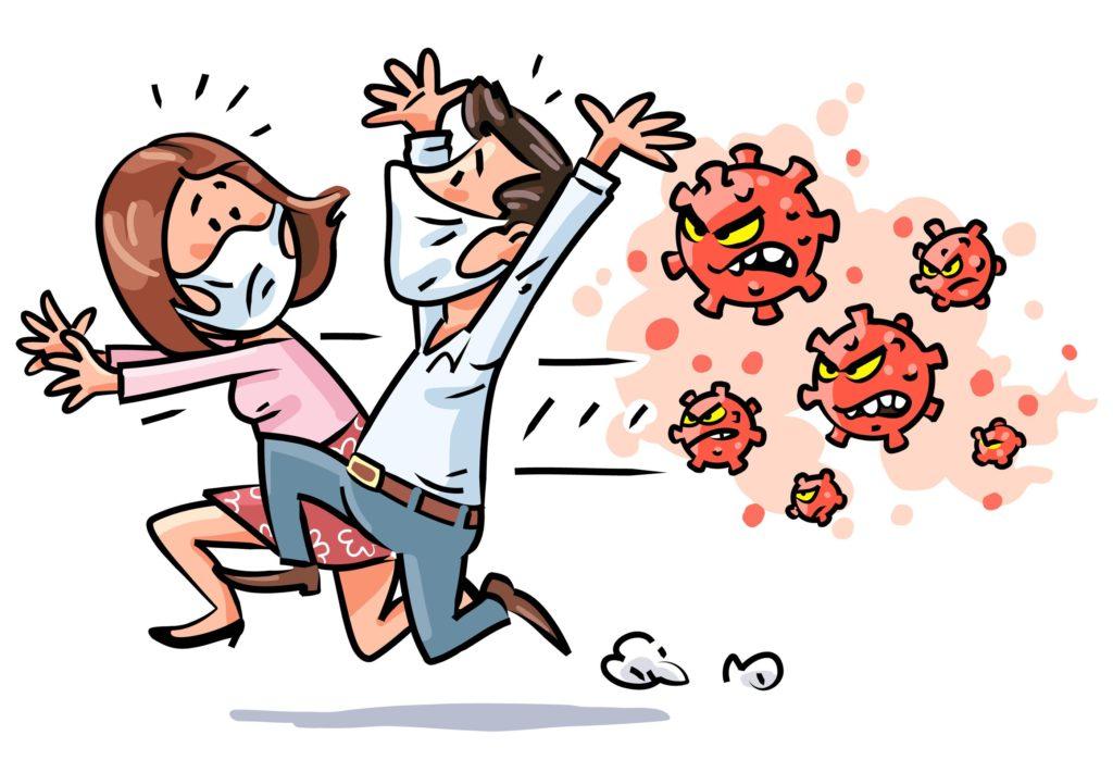 Mann und Frau auf der Flucht vor dem Virus