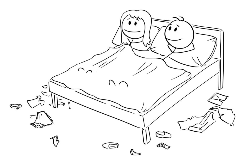 Vektor-Karikatur-Illustration des glücklichen heterosexuellen Paares des Mannes und der Frau, die zusammen im Bett im Schlafzimmer nach dem Sex liegen