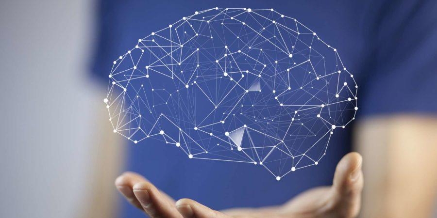 Mann Hand Gehirn