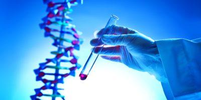 Hand hält ein Reagenzglas für chemische Lösungen in einem DNA-Forschungslabor für Biochemie