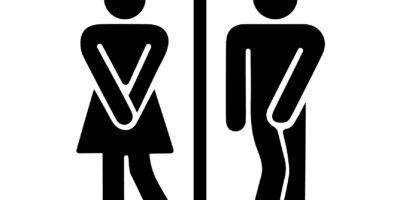 Lustiges, fröhliches, ursprüngliches Zeichen, Ikone männliche und weibliche Toilette. Vektorillustration.