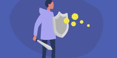 Junge weibliche Figur bekämpft das Virus mit Schwert und Schild, Gesundheitswesen, Immunsystem
