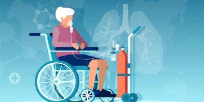 Vektor einer älteren Frau, die im Rollstuhl sitzt und Atembeschwerden auf Sauerstofftherapie hat