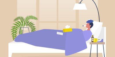 Junge männliche kranke Figur, die im Bett, Schlafzimmerinnenraum, Quarantäne, medizinische Behandlung ruht