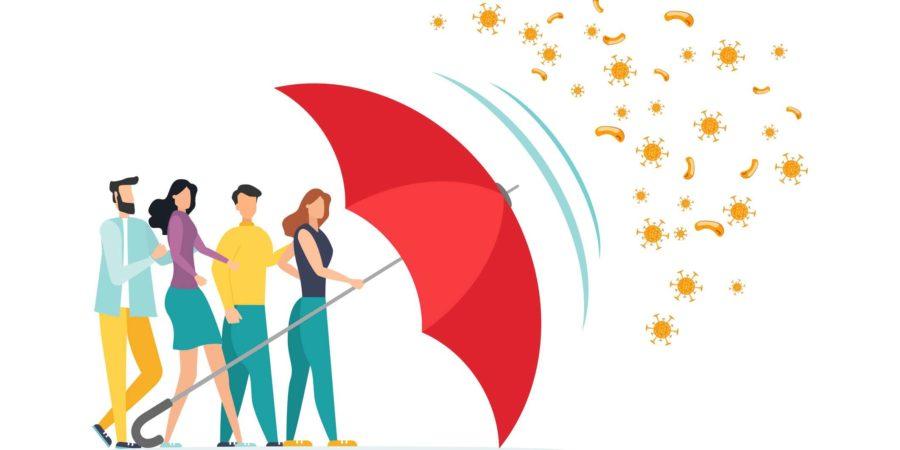 Immunsystem Vektor Icon Logo. Schutz vor Bakteriengesundheitsviren. Gesunde Männer und Frauen stehen hinter einem roten Regenschirm und wehren den Angriff von Bakterien mit einem Regenschirm ab. Verbessern Sie die Immunität mit der Illustration des Medizinkonzepts.