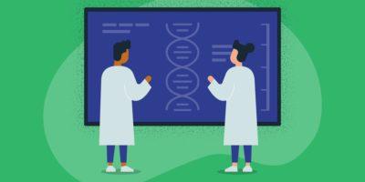Illustration von zwei medizinischen Forschern