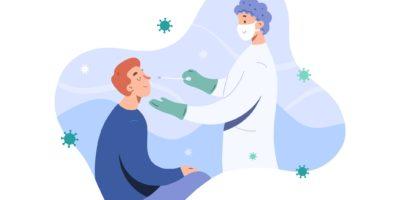 Covid-Test, Arzt sammelt Nasenschleim durch Tupferprobe für Covid-19-Infektion, zu testender Patient, Laboranalyse, medizinische Untersuchung, flache Cartoon-Vektorillustration, freundlicher Arzt in Gesichtsmaske