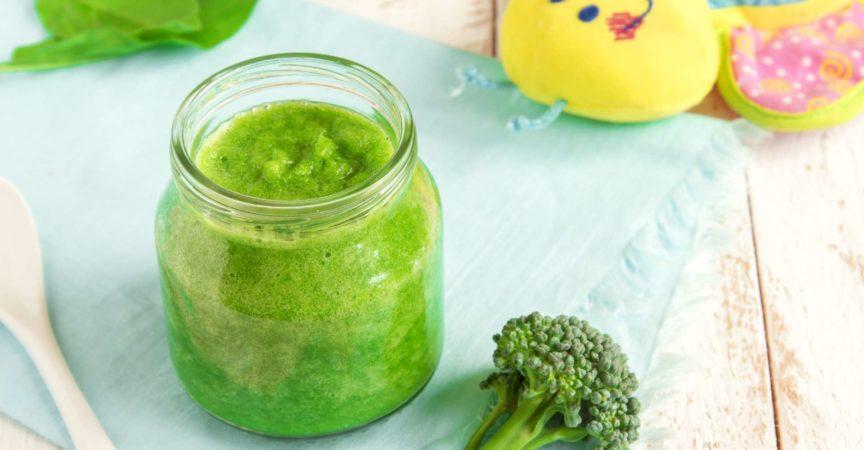 Babynahrung: grüner Bio-Brokkoli und Spinatpüree