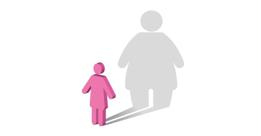 Das Symbol einer Frau, die einen Schatten einer viel dickeren Frau wirft. Körperdysmorphie.