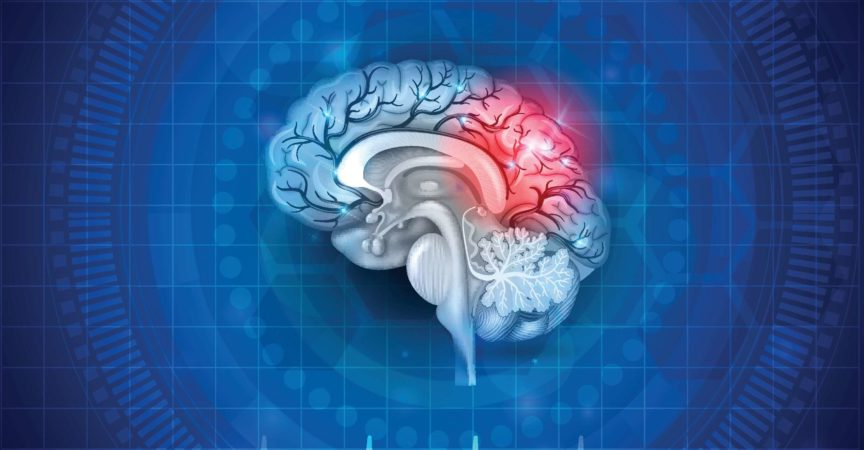 Human brain damage and treatment concept. Abstract blue background with cardiogram.
