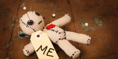 """Cute handmade Voodoo Doll (made completely by me) with label marked """"Me"""""""