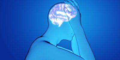 Mann mit einer Kopfschmerz-3D-Rendering-Illustration