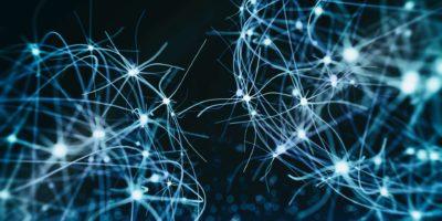 3d gerendertes Bild des neuronalen Zellnetzwerks auf schwarzem Hintergrund.