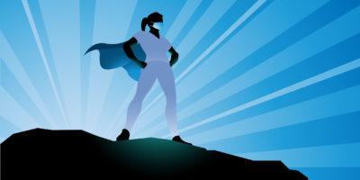 Vector Female Healthcare Worker Superheld Silhouette Stock Illustration