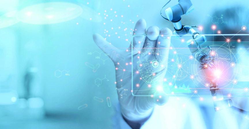 Roboteranalyse und Testergebnis von DNA für Ärzte und medizinische Assistenten auf modernen virtuellen Schnittstellen, Wissenschaft und Technologie, innovativ und zukunftsweisend für die medizinische Gesundheitsversorgung im Laborhintergrund.