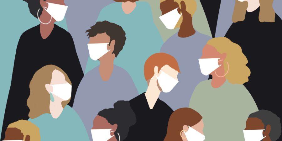 Viele Menschen mit Gesichtsmasken