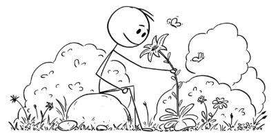 Vektor-Karikatur-Illustration des Mannes, der in der friedlichen Natur sitzt, umgeben von Bäumen, Blumen und Schmetterlingen.