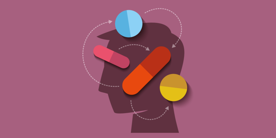 Menschlicher Kopf mit Medizin – Vektor Illustration