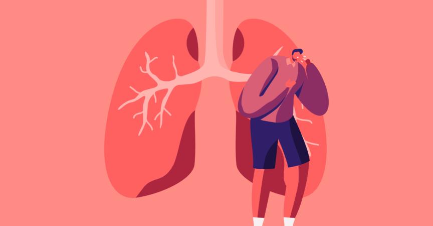 Mann hustet, kranke Lungen im Hintergrund, Pulmonologie-Inspektion, Untersuchung der Atemwege, Gesundheitswesen und Tuberkulose-Behandlung