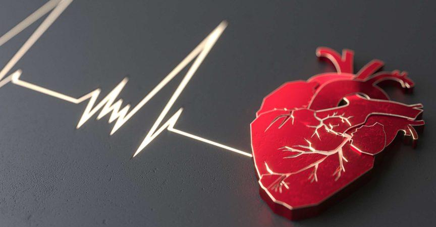 Abstraktes flaches Herz auf dem Steinoberflächenkonzept. Schieberegler für die Website des medizinischen oder chirurgischen Kopierbereichs. 3D-Rendering
