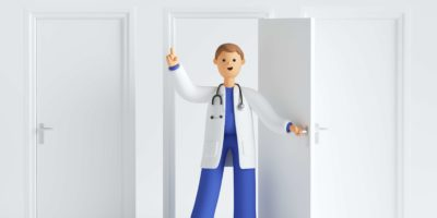 3d rendern, Karikaturcharakterarzt, der Uniform und offene Tür des Stethoskops im Krankenhaus trägt, Finger zeigt, medizinischen Hintergrund