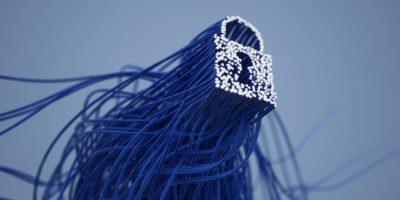 3D-Rendering der Sperre auf blauem Hintergrund