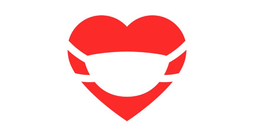 Red Heart Valentine trägt eine medizinische Maske. Vektorillustration.