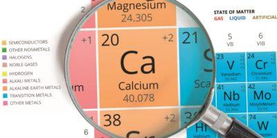 Kalziumsymbol - Ca. Element des Periodensystems mit Lupe gezoomt