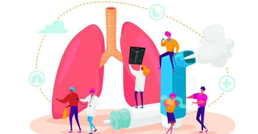 Pulmonologie und Asthma. Winzige Charaktere an riesigen Lungen und Inhalatoren, Untersuchung und Behandlung des Atmungssystems