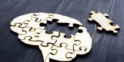 Gehirn aus Holzpuzzles. Psychische Gesundheit und Probleme mit dem Gedächtnis.
