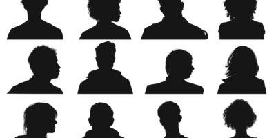 Silhouette der menschlichen Köpfe und Gesichter von der Vorder- und Seitenansicht.