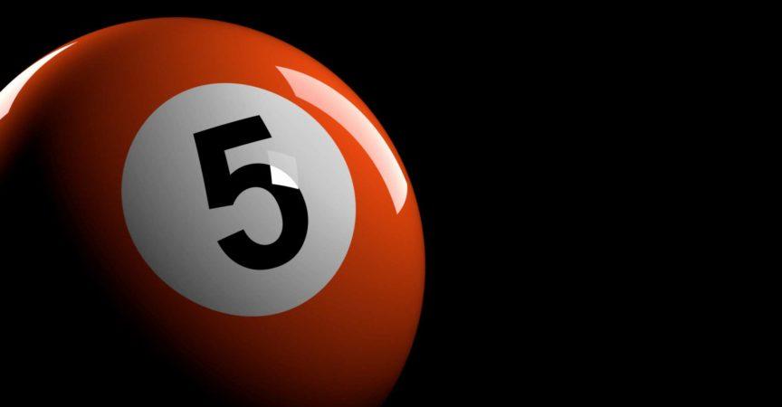 3D-Rendering von Poolball Nummer 5.