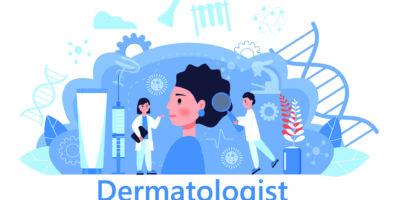 Dermatologe Konzeptvektor für medizinische Websites und Landing Pages, Blog. Hautkrankheiten und dermatologische Probleme. Psoriasis, Vitiligo, Dermatitis, Hautausschlag beim Menschen.