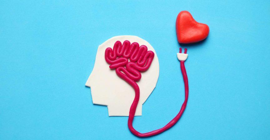 Figur des Mannes mit Gehirn und rotem Herzen. Liebe und Intelligenz.