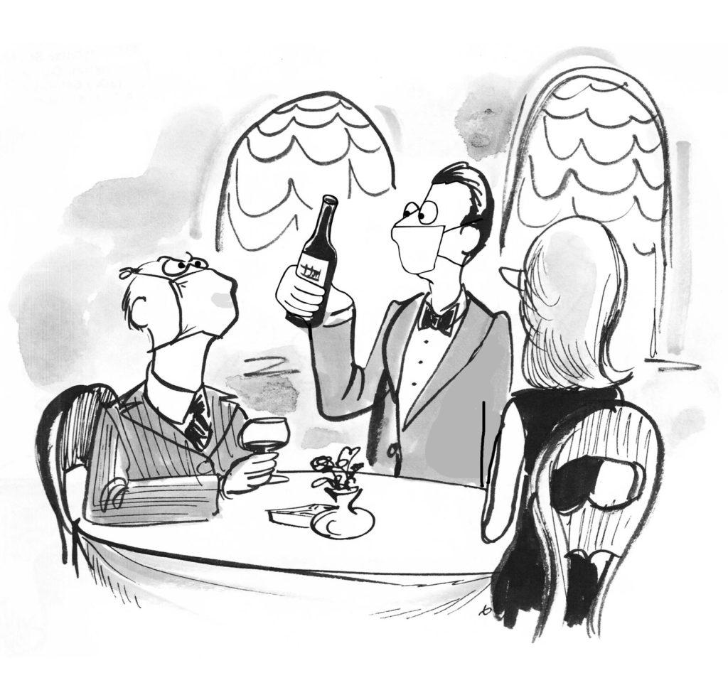 Ein Cartoon, der einen elitären, älteren Mann zeigt, der sich die Mühe macht, dass seine Gesichtsmaske ihn beim Trinken eines guten Weines stört.