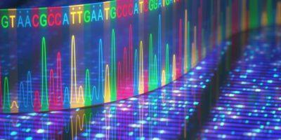 3D-Darstellung eines Verfahrens zur DNA-Sequenzierung.