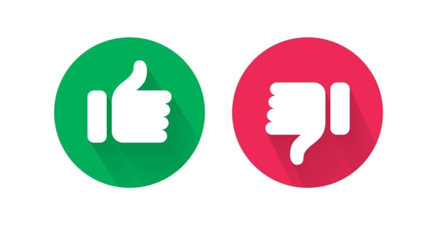 Do und Dont Daumen nach oben und unten Vektorsymbole. Vektorrot schlecht und grün gut, ähnliche und ungleiche Symbole für negative und positive Prüfung