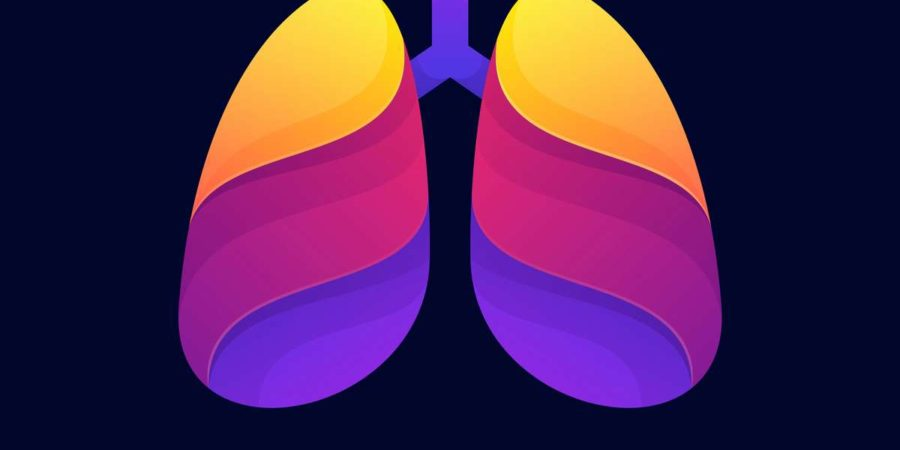 Vektor-Illustration Gesunde Lungen Farbverlauf Bunte Stil.