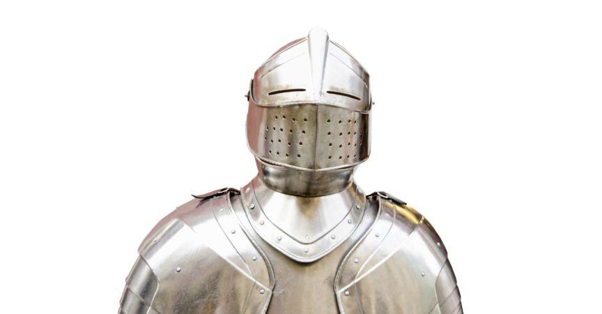 Krieger-Rüstung isoliert auf weißem Hintergrund.